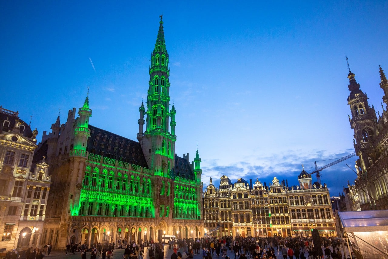 City Hall Brussels, Grand Place, lit up green for World Environment Day