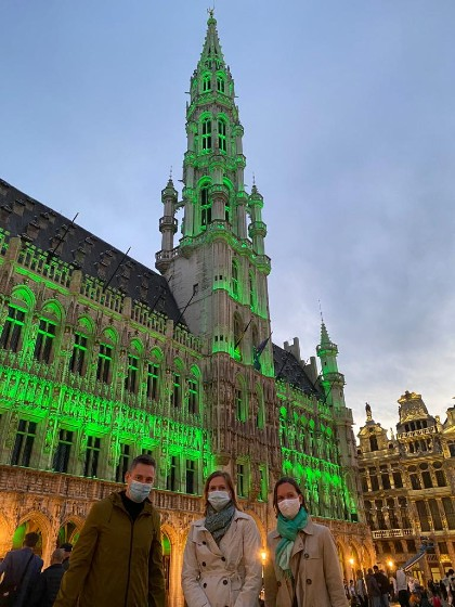 Benoit Hellings (City of Brussels), Veronika Hunt Safrankova (UNEP) and Caroline Petit (UNRIC), City Hall Brussels lit up green for World Environment Day 2021